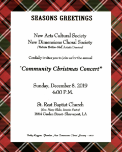 Community Christmas Concert 2019 flyer